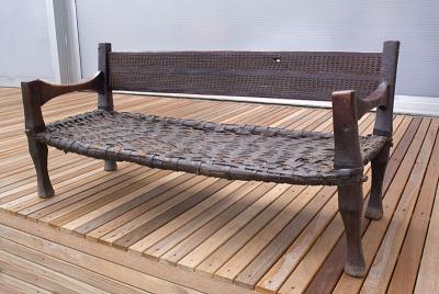 Ambo bench wood+leather (Ethiopia)