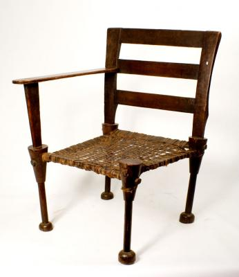Ambo chair wood+leather+1arm (Ethiopia)