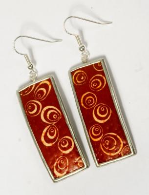 EARINGS KLIMT LONG RED