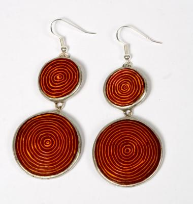 EARINGS TRI CIRCLES RED